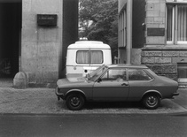 "Michael Asher, Westfälisches Landesmuseum für Kunst und Kulturgeschichte, Münster, West Germany, ""Skulptur Projekte in Münster 1987,"" June 14 – October 04, 1987, trailer in various locations. Parking position, 1st week, June 08 – 15, Siegelkammer and Pferdegasse. Photograph by LWL / Rudolf Wakonigg. © Michael Asher Foundation"